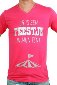 T-Shirt ''Er is een Feestje in mijn tent'' Rose Heren