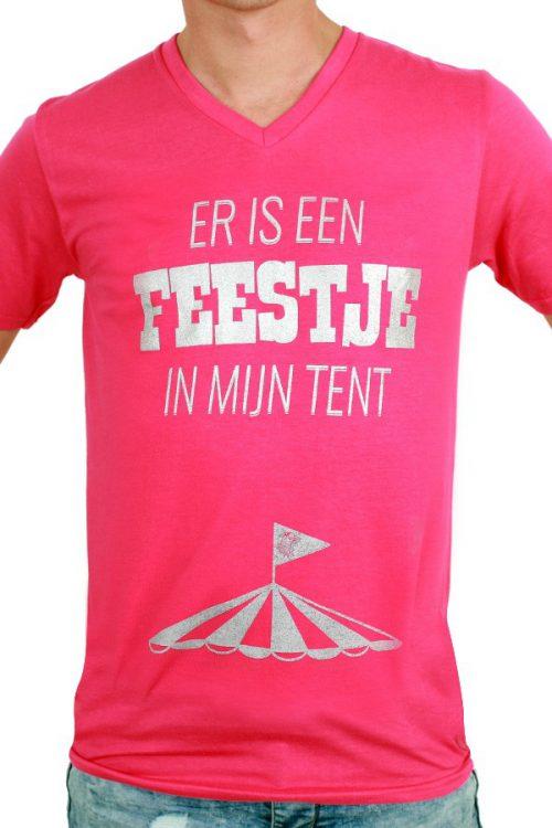 T-Shirt ''Er is een Feestje in mijn tent'' Rose Heren