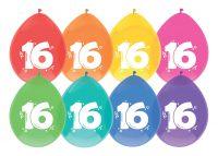 """8st Ballonnen 16 Jaar Wit Opdruk 12"""""""