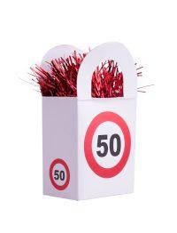 Ballon Gewicht Tasje 50 jaar Verkeersbord