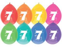 """8st Ballonnen 7 Jaar Wit Opdruk 12"""""""