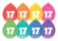 """8st Ballonnen 17 Jaar Wit Opdruk 12"""""""
