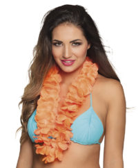 Hawai Bloemenkrans Fluor/Neon Oranje XL Dik