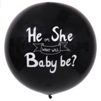 Reuze ballon 90cm Zwart He or She What Will