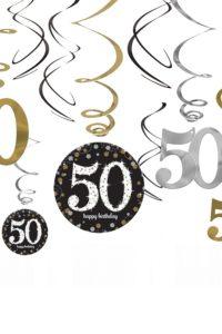 12st Hangdecoratie 50 Jaar Goud/Zilver/Zwart