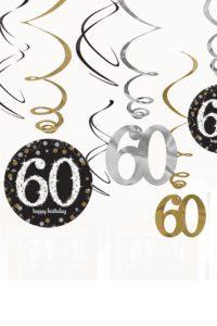 12st Hangdecoratie 60 Jaar Goud/Zilver/Zwart