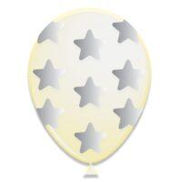 """6st Ballonnen met Zilveren Sterren 12"""""""