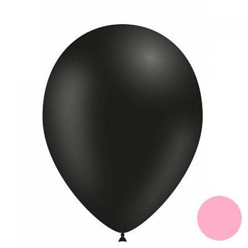 Zwarte Ballon met Rose Confetti
