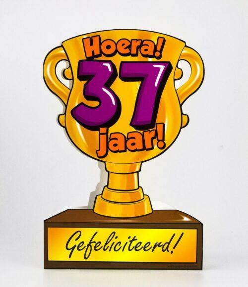 Wenskaart 37-Trofee 37 jaar