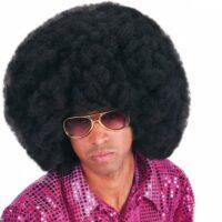 Afro Pruik Zwart 40cm