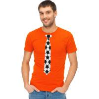 T-Shirt Heren Oranje met Voetbal Stropdas