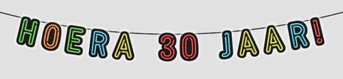 """5m Letterslinger Neon """"Hoera 30 Jaar!"""""""