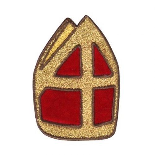 Applicatie Sint Mijter Goud/Rood 9cm