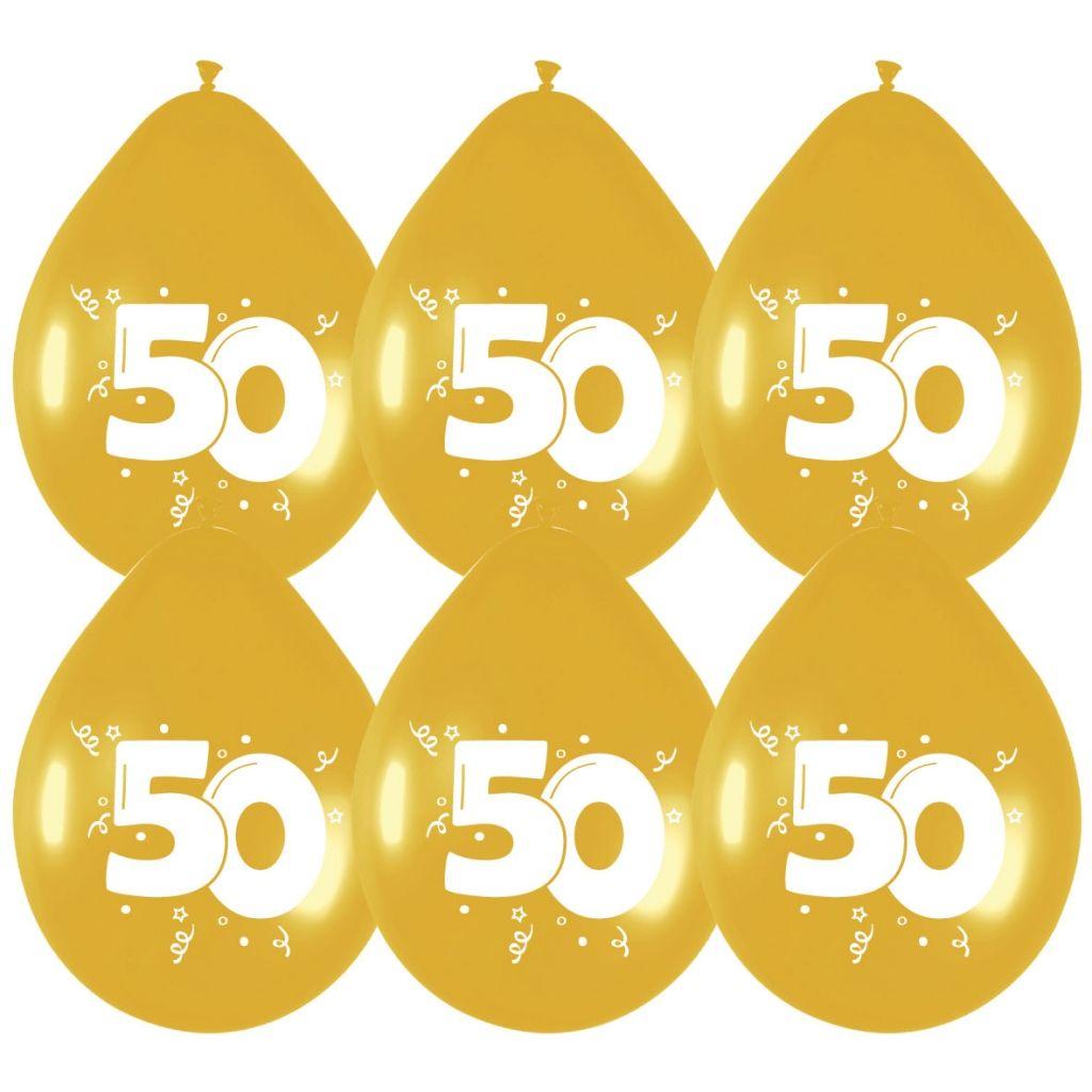 """6st Ballonnen 50 Jaar Goud 12"""""""