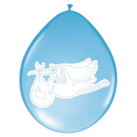 8st Ballonnen Blauw met Ooievaar