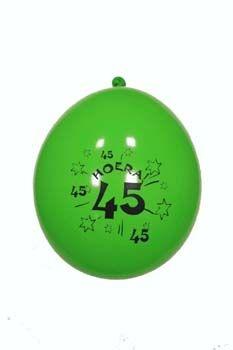 10st Ballonnen Hoera 45 jaar 12''