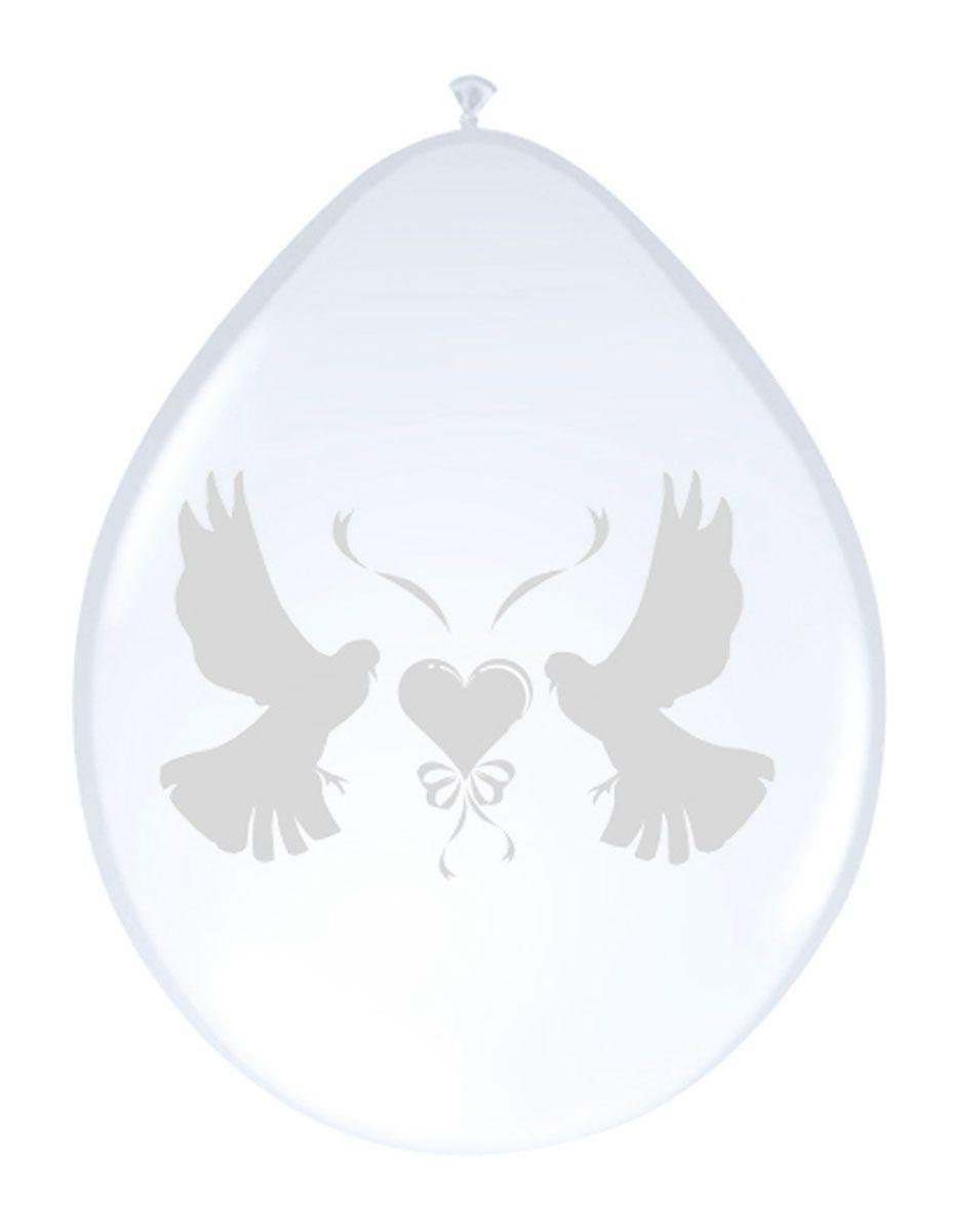 8st Ballonnen Wit Witte Duif 12''