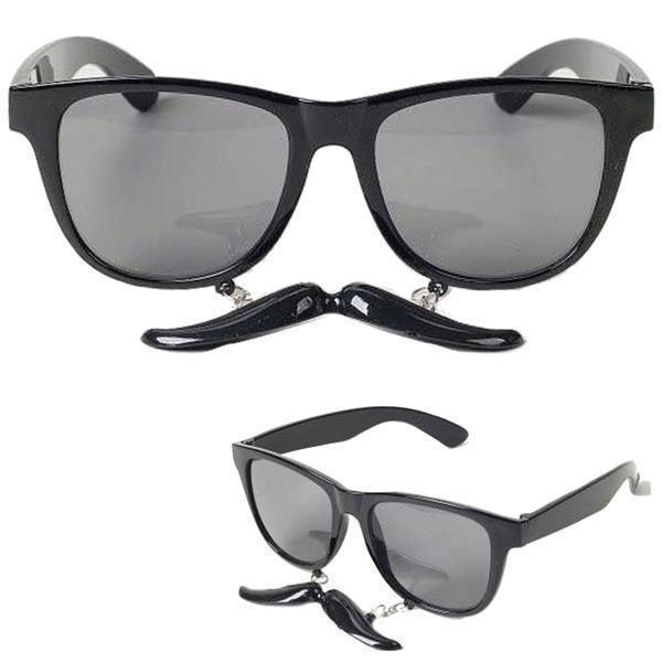 Bril met Onderhangende Snor Zwart