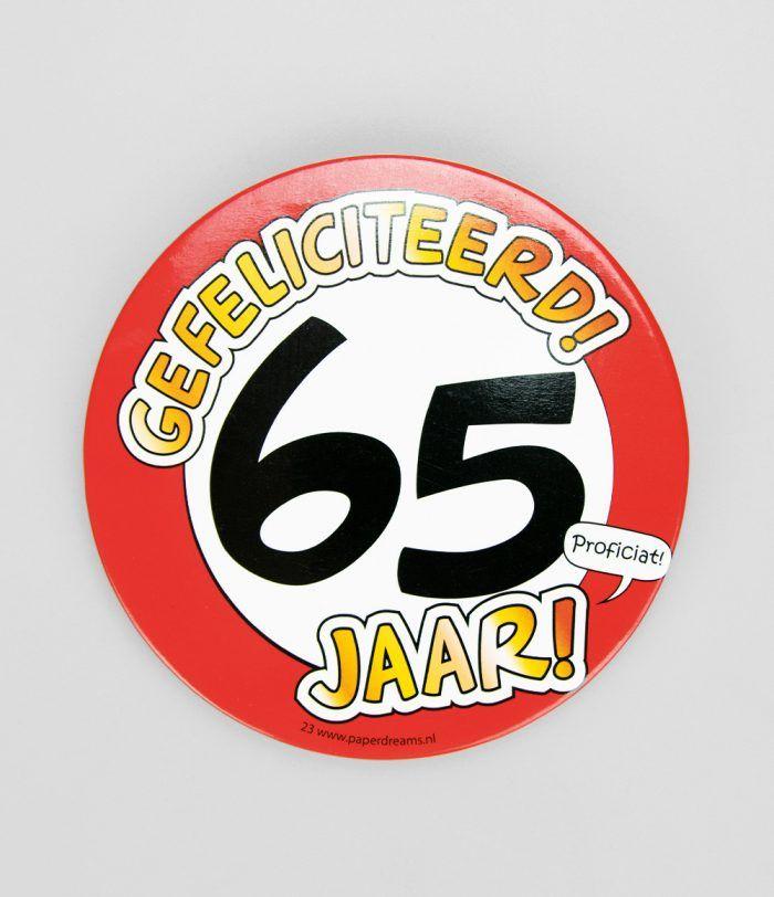 Button XL 65 jaar