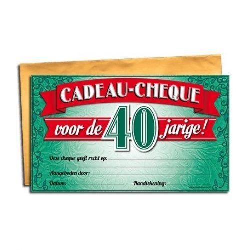 Cadeau Cheque 40 jaar