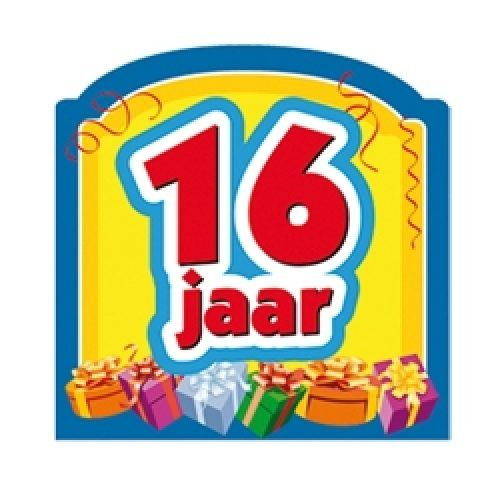 Champagnefles Sticker 16 Jaar