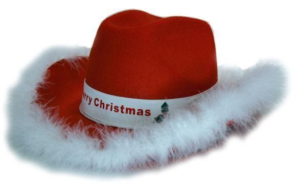 Cowboy Hoed Vilt Rood/Wit Kerst