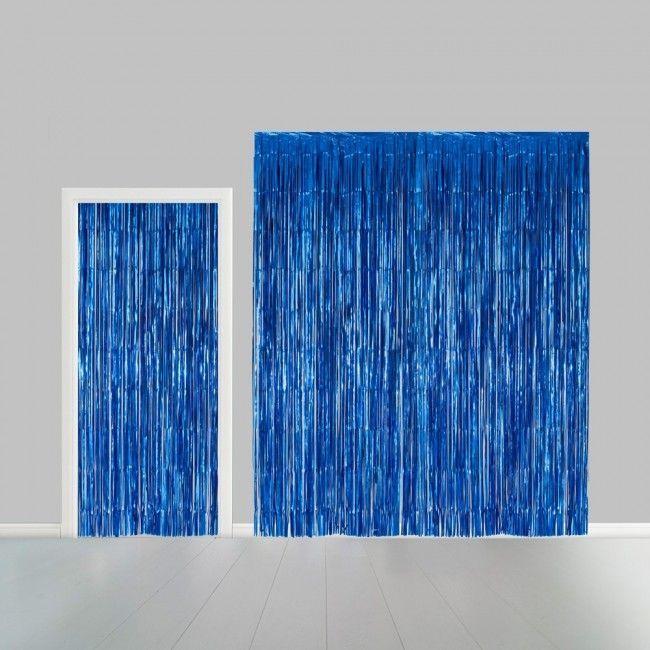 Deurgordijn Folie Uni Blauw 100x240cm Brandv.