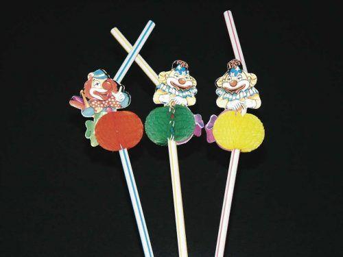 6st Folie Rietjes Clowntjes 24cm