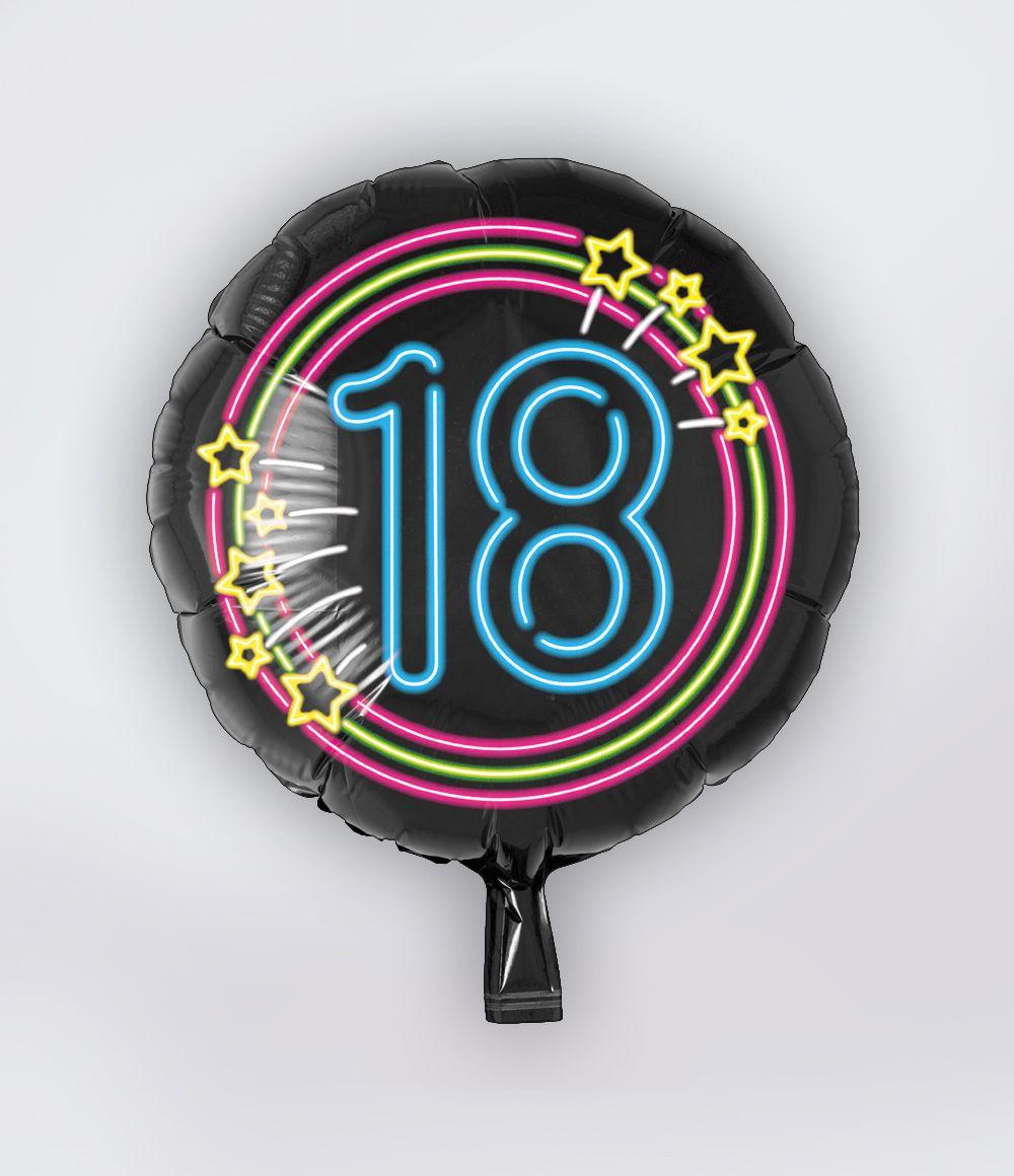 Folieballon 18 Jaar Neon 46cm