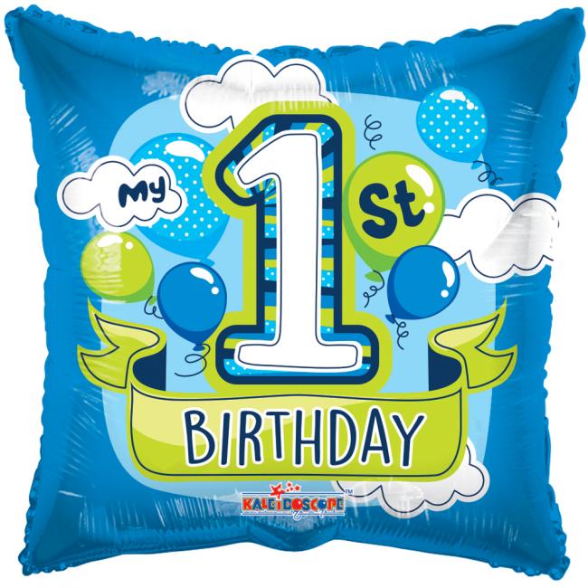 Folieballon 1st Birthday Blauw Ballonnen 46cm