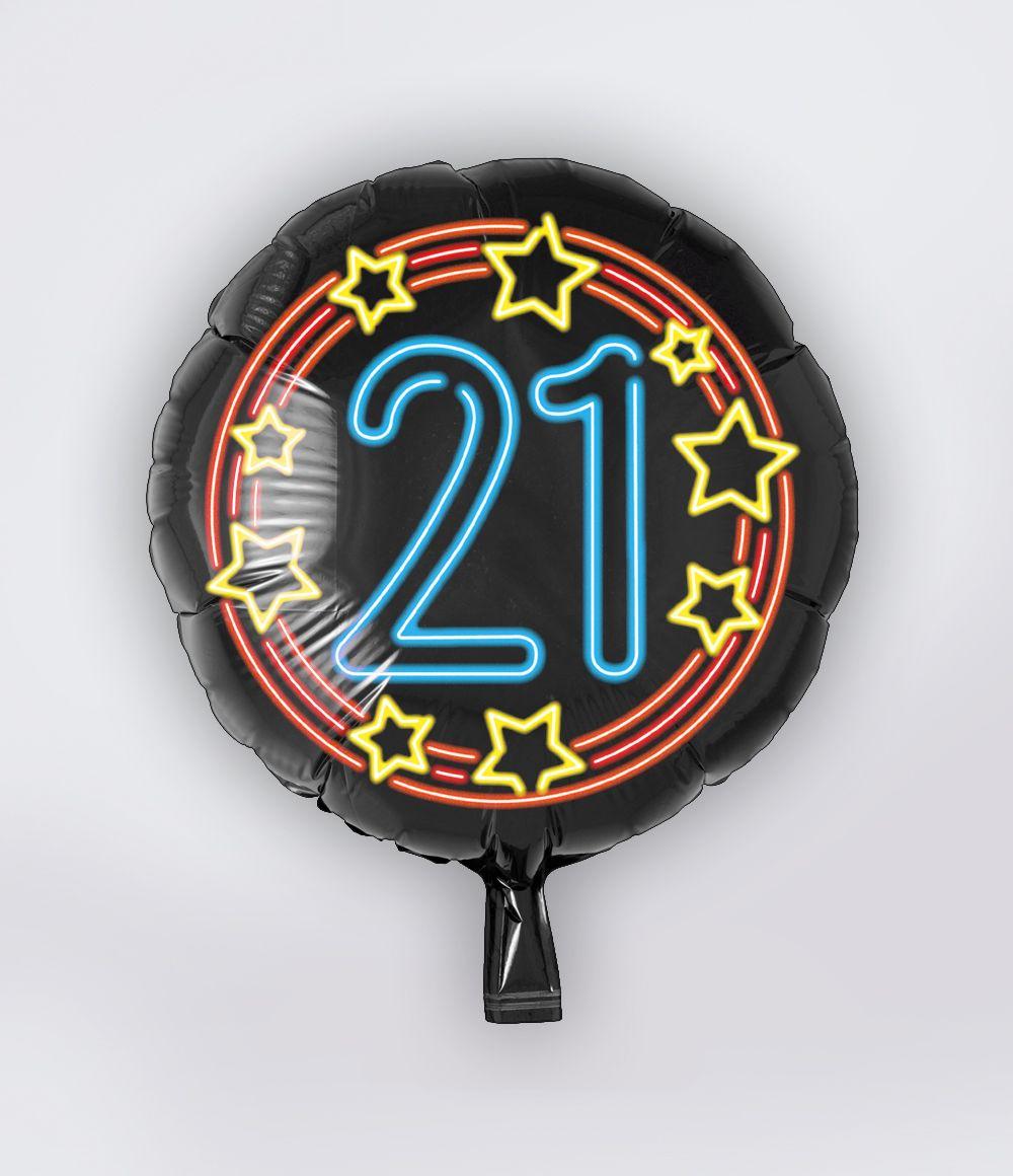 Folieballon 21 Jaar Neon 46cm
