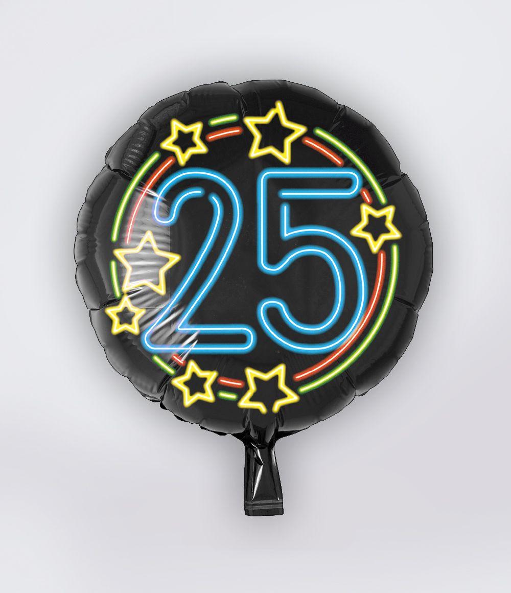 Folieballon 25 Jaar Neon 46cm
