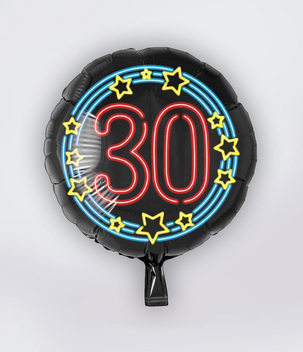 Folieballon 30 Jaar Neon 46cm