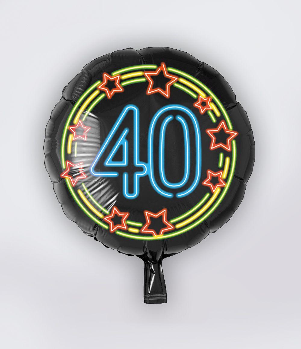 Folieballon 40 Jaar Neon 46cm