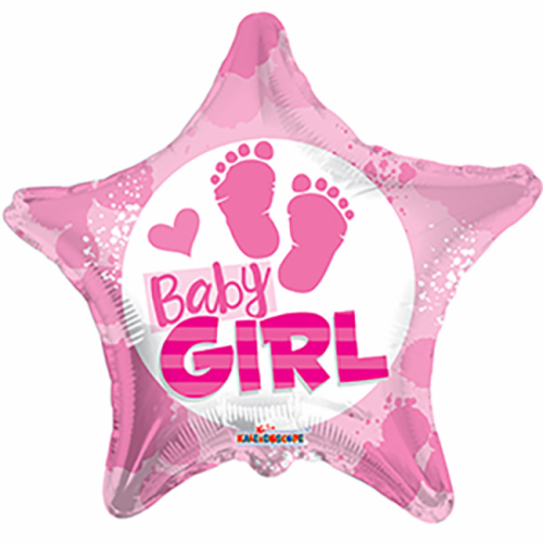 Folieballon Baby Girl Ster Roze 46cm
