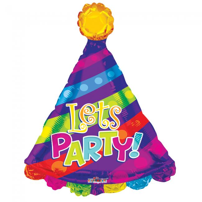 Folieballon Feesthoed Lets Party! 71cm