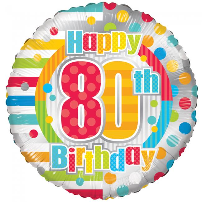Folieballon Happy 80th Birthday 46cm
