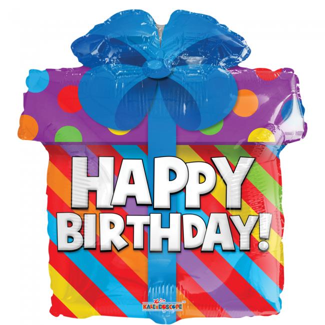 Folieballon Happy Birthday Cadeautje 46cm