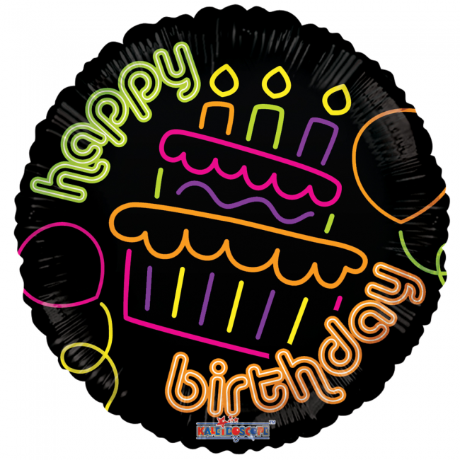 Folieballon Happy Birthday Neon Cupcake 46cm