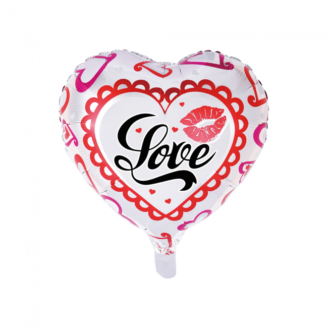 Folieballon Hart Love Wit/Rood 46cm