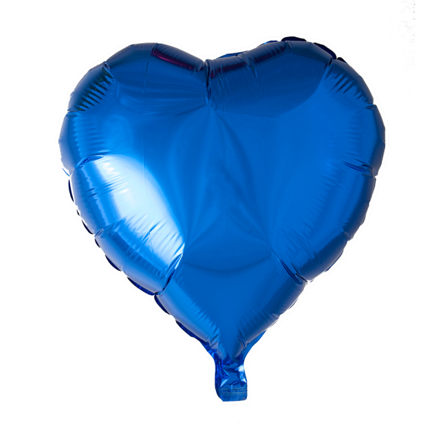 Folieballon Hart Uni Blauw 46cm