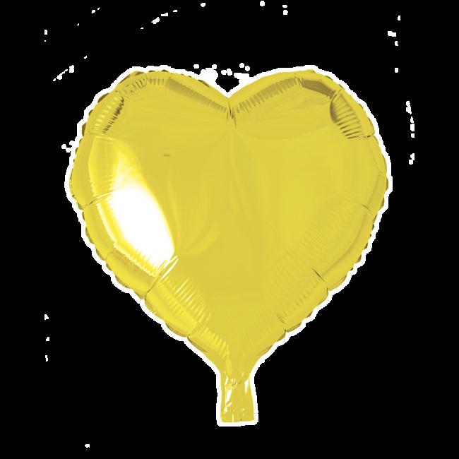 Folieballon Hart Uni Geel 46cm
