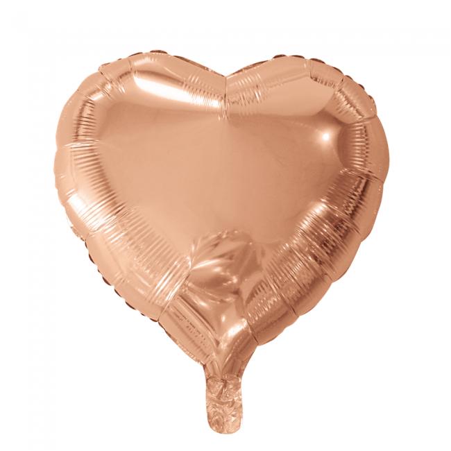 Folieballon Hart Uni Roségoud 46cm