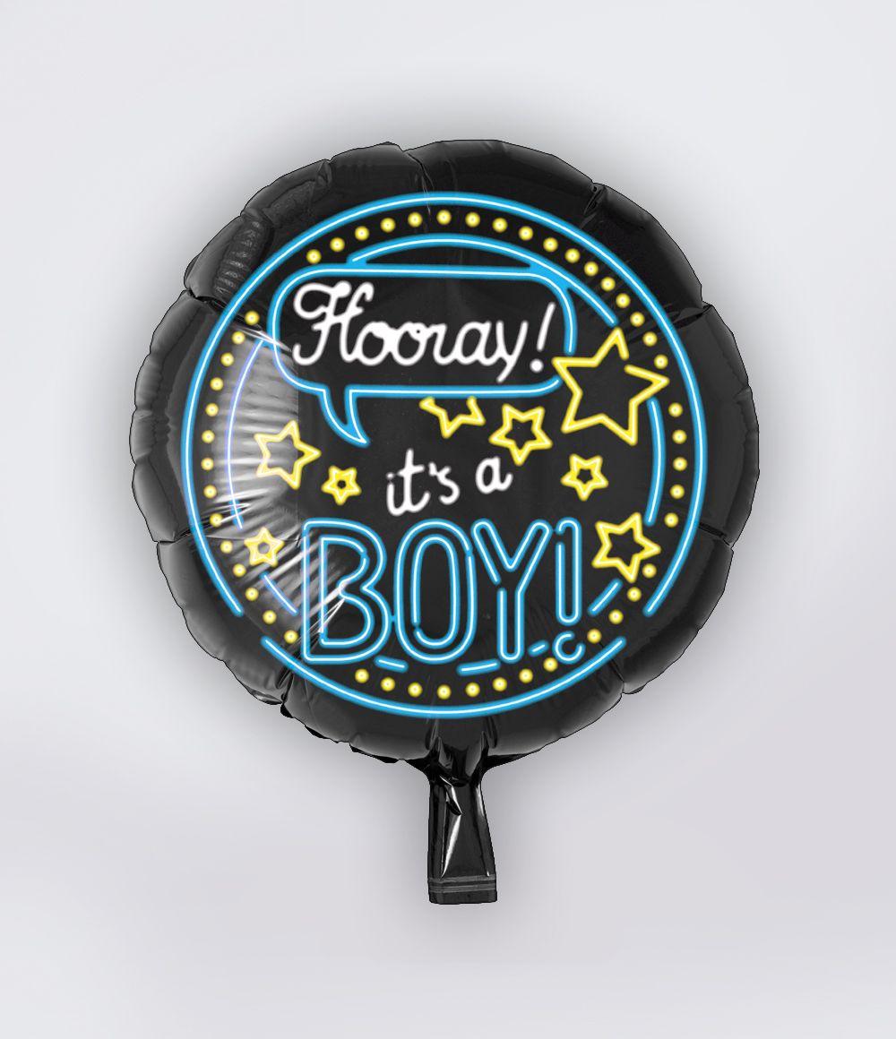 Folieballon Hooray It's a Boy Neon 46cm