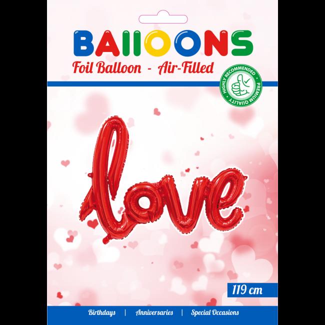 Folieballon Love Rood voor LUCHT 119cm