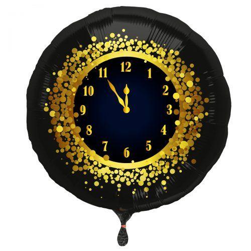 Folieballon Oud&Nieuw Klok Zwart/Goud 45cm