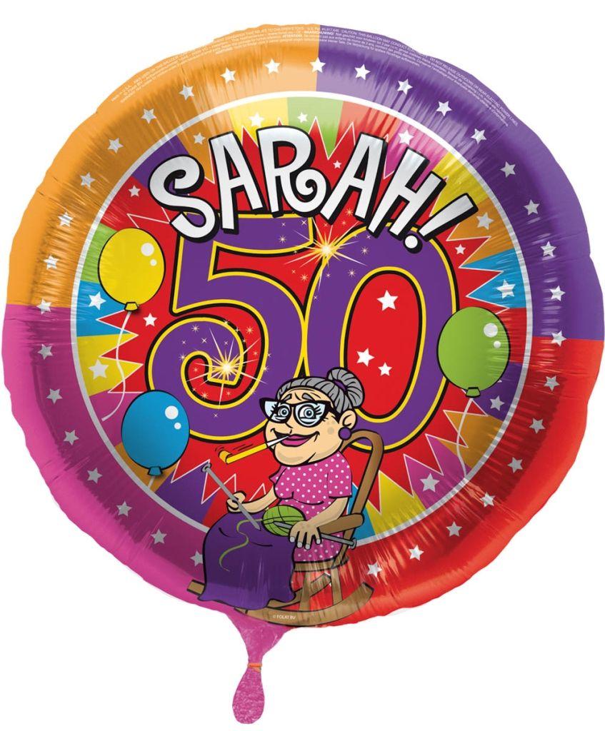 Folieballon Sarah 50jaar 43cm
