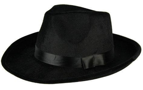 Gangster Hoed Zwart Fluweel