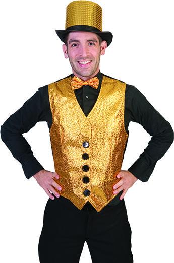 Gilet Sixties Glitter Goud Heren