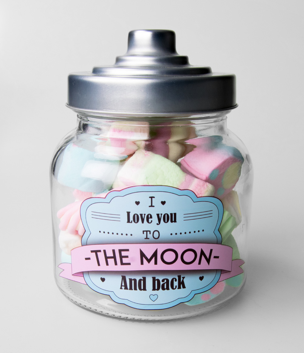 Glazen Snoeppot Love to Moon and Back